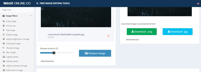 Adjust the sharpening with Image Online.Co