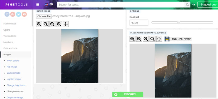 Change the contrast of a photo with PineTools