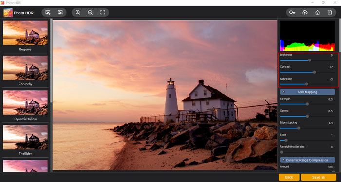 Adjust the brightness, contrast and saturation of the HDR photo