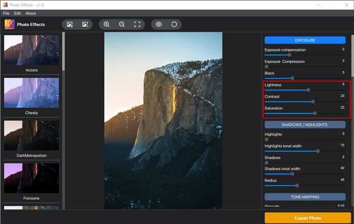 """Three parameters in the """"EXPOSURE"""" section, including lightness, contrast, and saturation"""