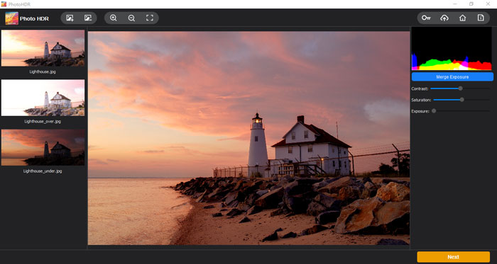 Three photos with different exposures are imported into the program