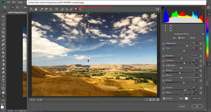 Create a graduated filter effect in Photoshop