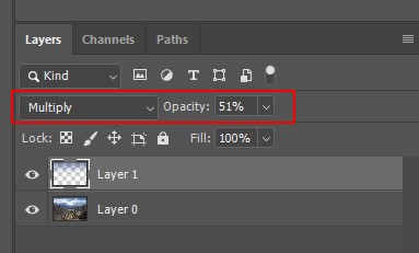 """Select """"Multiply"""" and set the value of """"Opacity"""" to 51%"""