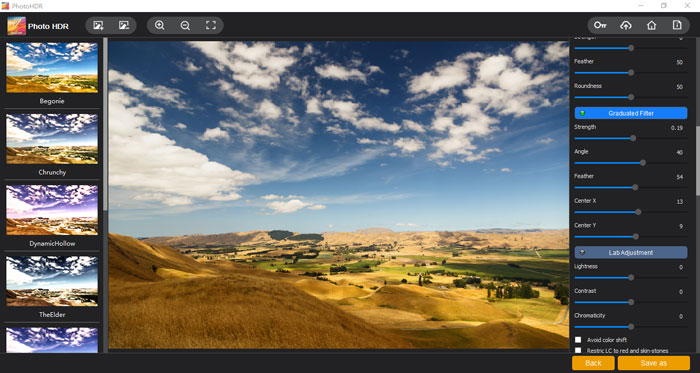 """The """"Graduated Filter"""" section of Photo HDR by Vertexshare"""