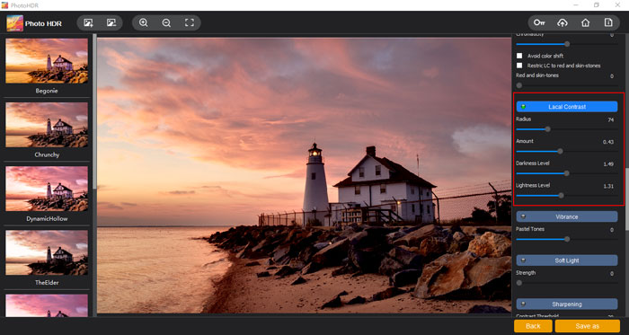 """The """"Local Contrast"""" section of Photo HDR"""