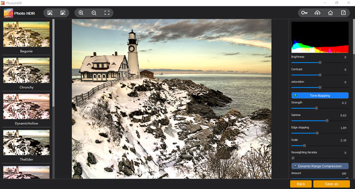 """The """"Tone Mapping"""" section of Photo HDR"""