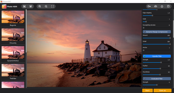 """The """"Vignette Filter"""" section of Photo HDR"""