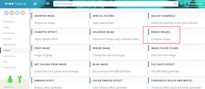 """Select """"MERGE IMAGES"""""""