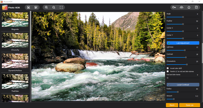 """The """"Lab Adjustment"""" section of Photo HDR by Vertexshare"""