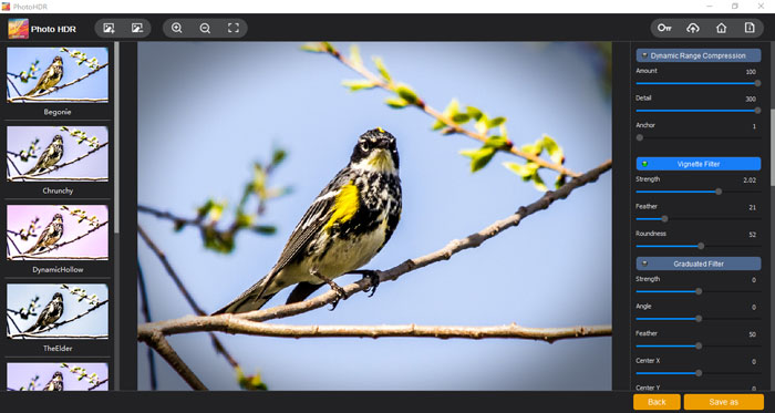 """The """"Vignette Filter"""" section of Photo HDR by Vertexshare"""