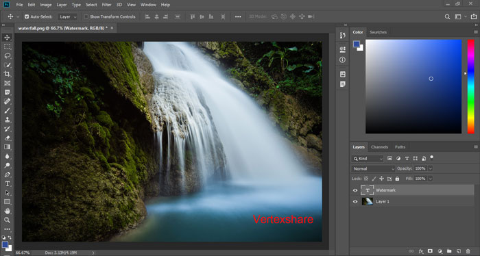 Add a text watermark to a photo in Photoshop