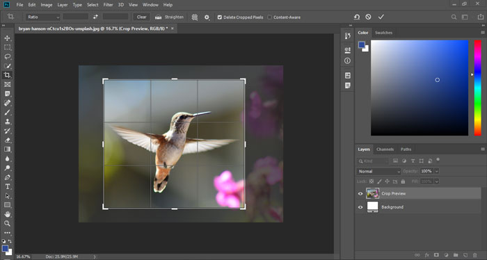 Resize the cropping border and reposition the cropping marquee