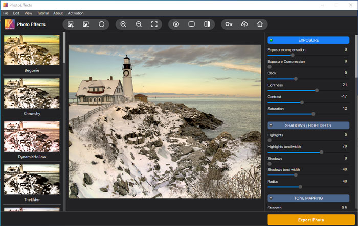 Adjust the brightness, contrast, and saturation of the enlarged photo in Photo Effects